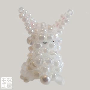 ビーズのウサギ-ホワイト